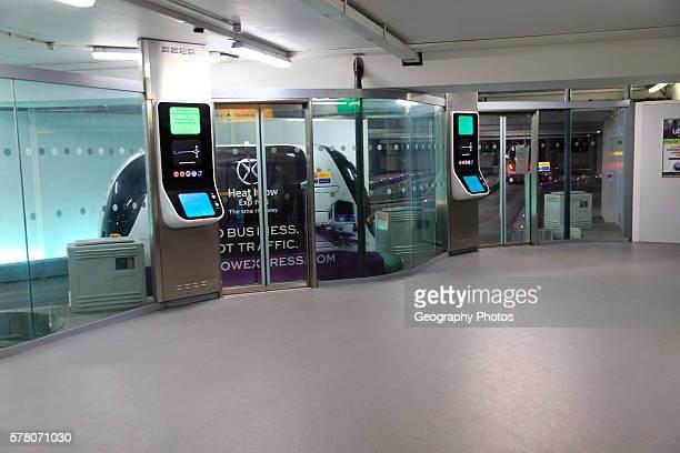 Pods robot driverless transport tram system at Terminal Five Heathrow airport London England UK
