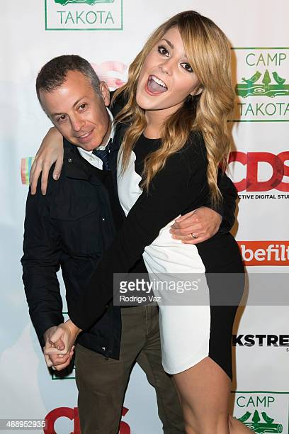 Poducer Michael Goldfine and actress Grace Helbig attend 'Camp Takota' Exclusive Sneak Peek Party at UCLA on February 11 2014 in Los Angeles...