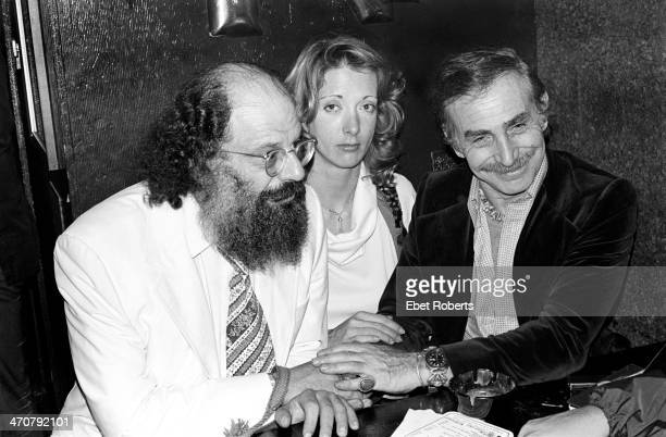Poet Allen Ginsberg and Bitter End club owner Paul Colby with friend at The Bitter End in New York City on September 21 1977