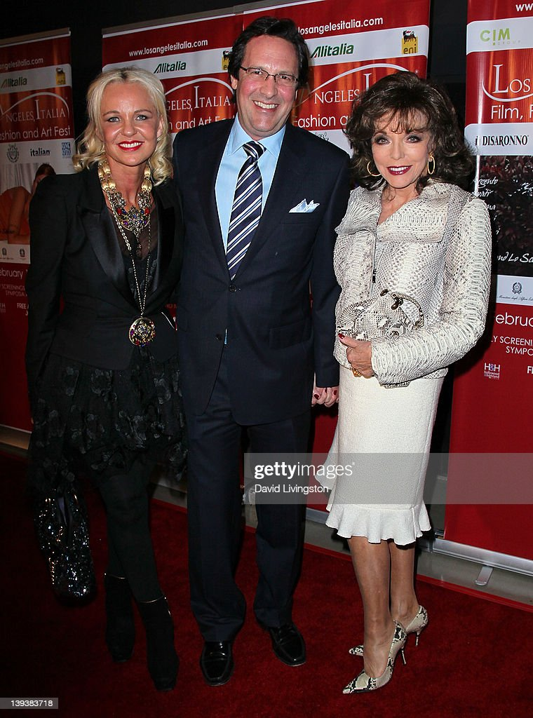 Poet Amanda Eliasch Percy Gibson and wife/actress Joan Collins attend the 7th Annual Los Angeles Italia Film Fashion and Art Festival opening night...