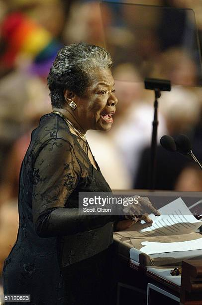 Poet and activist Maya Angelou speaks to delegates at the Democratic National Convention July 27 2004 at FleetCenter in Boston Massachusetts