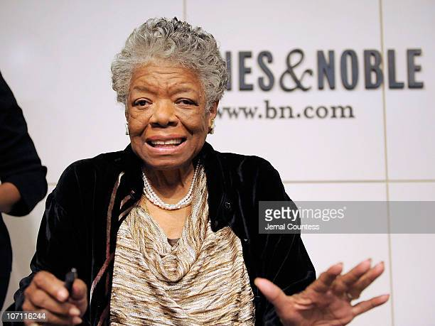Poet and Author Dr Maya Angelou addresses audience members during a book signing for her book 'Maya Angelou Letter to My Daughter' at Barnes Noble in...