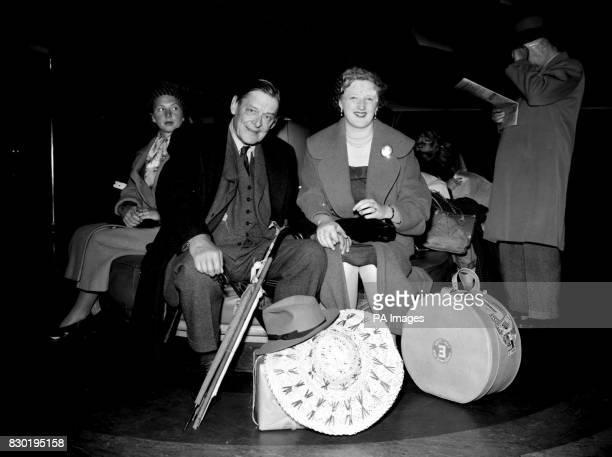 Poet and dramatist T S Eliot and his wife arrive in Southampton aboard the Cunard liner Queen Mary They are returning from one month on holiday in...