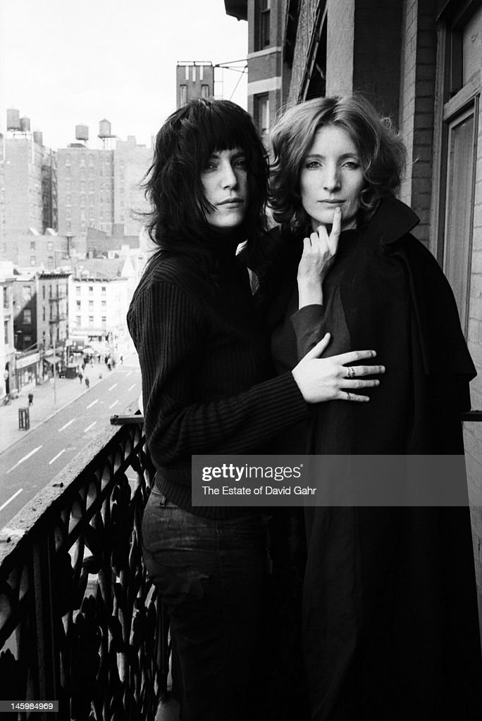Poet and singer Patti Smith and actress and Andy Warhol 'superstar' Viva pose for a portrait on May 4 1971 on a balcony at the Chelsea Hotel in New...