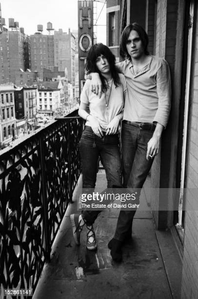 Poet and singer Patti Smith and singer songwriter Eric Anderson pose for a portrait on May 4 1971 on a balcony at the Hotel Chelsea in New York City...