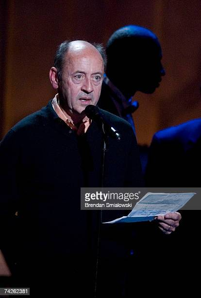 Poet Billy Collins reads a poem during the Library Of Congress Gershwin Prize For Popular Song Gala at the Warner Theater May 23 2007 in Washington...
