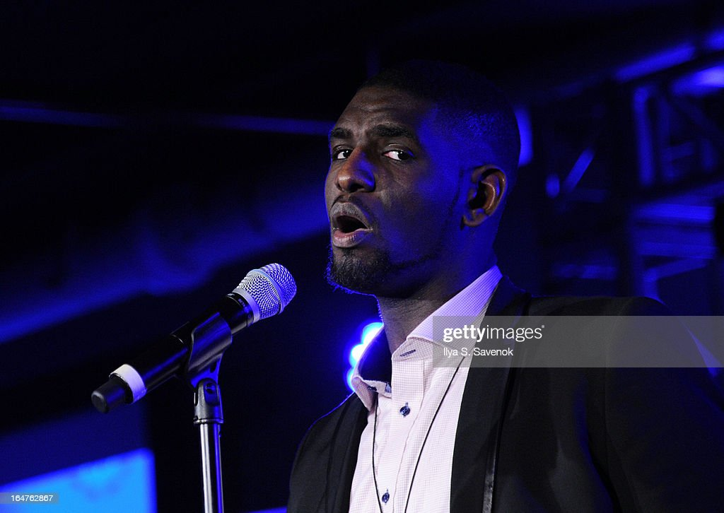 Poet Carvens Lissaint performs during 'Verses And Flow' Live at The Liberty Warehouse on March 27, 2013 in New York City.