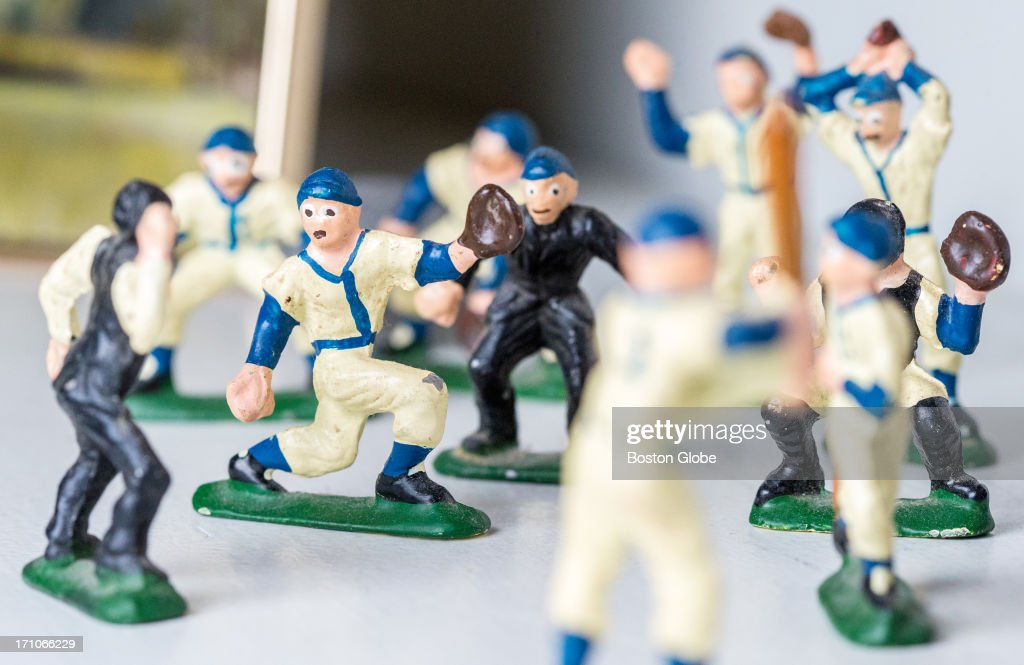 Poet Donald Hall's favorite baseball figurines at his home in Wilmot, N.H. The home belonged to his great-grandparents and was built in 1803.