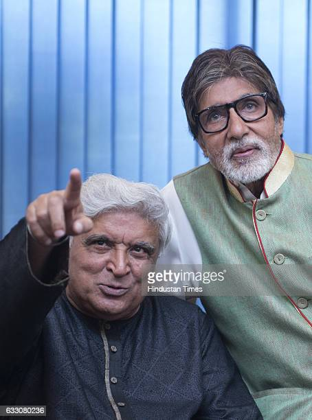 Poet lyricist and screenwriter Javed Akhtar and Bollywood actor Amitabh Bachchan during an interaction session on the completion of 42 years of...