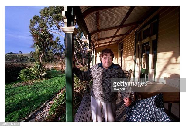 Poet Margaret Scott on the verandah of her Tasmanian home 16 June 2000 THE AGE Picture by CRAIG ABRAHAM