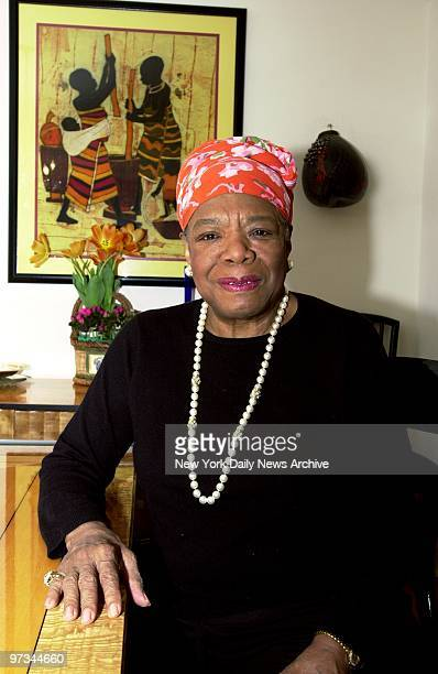 Poet Maya Angelou in her West Side apartment