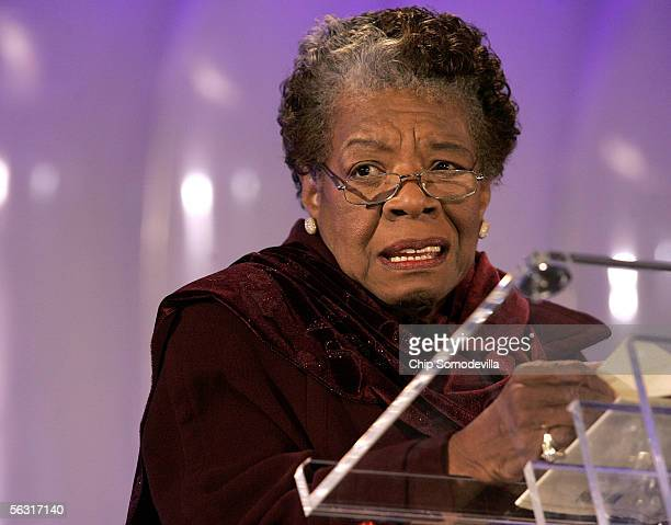 Poet Maya Angelou reads her poem 'Amazing Peace' during the 2005 Christmas Pageant of Peace and National Christmas Tree lighting ceremony December 1...