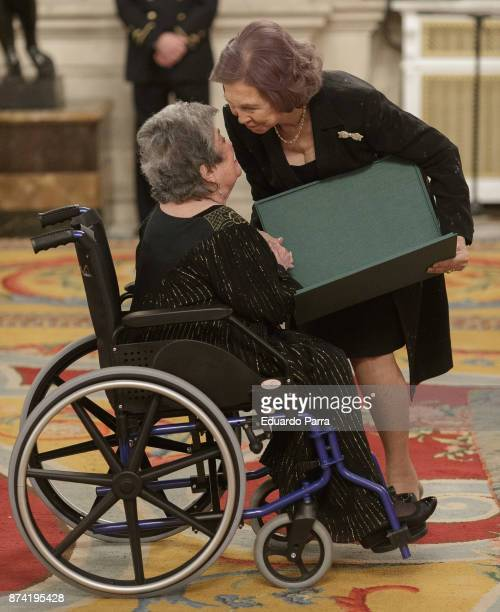 Poetess Claribel Alegria and Queen Sofia of Spain attend the 'Reina Sofia Iberoamerican Poetry' Award 2017 at Royal Palace on November 14 2017 in...