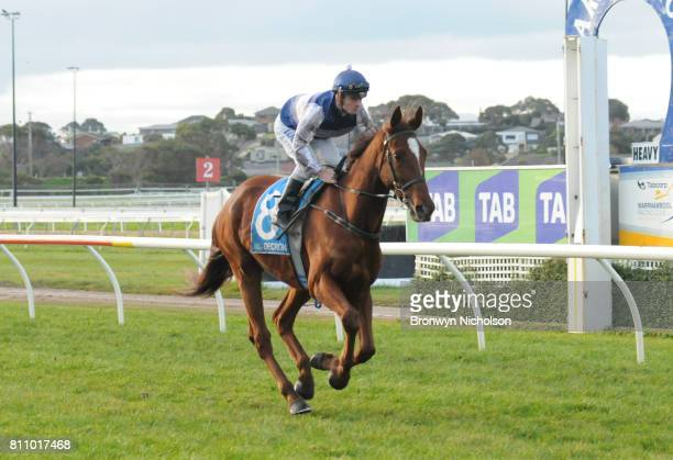 Poetic Ray ridden by Jarrod Fry goes out for the HFNL supports The Ripple Effect BM64 Handicap at Warrnambool Racecourse on July 09 2017 in...