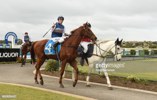 Poetic Ray ridden by Jarrod Fry returns afgter the Mark Struth Signs Maiden Plate at Warrnambool Racecourse on June 25 2017 in Warrnambool Australia