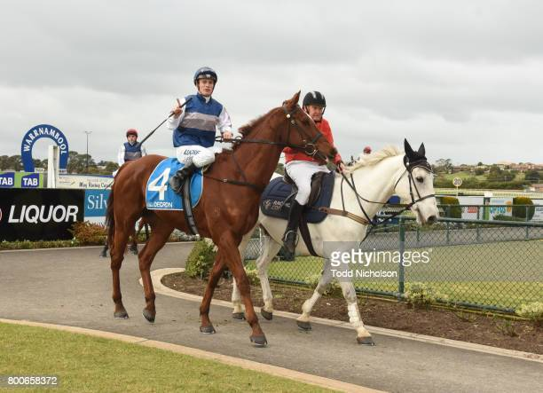 Poetic Ray ridden by Jarrod Fry returns after the Mark Struth Signs Maiden Plate at Warrnambool Racecourse on June 25 2017 in Warrnambool Australia