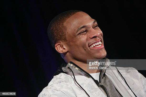 NBA point guard from the Oklahoma City Thunder Russell Westbrook speaks on stage during Wall Street Journal Sports The Style of Basketball Star...
