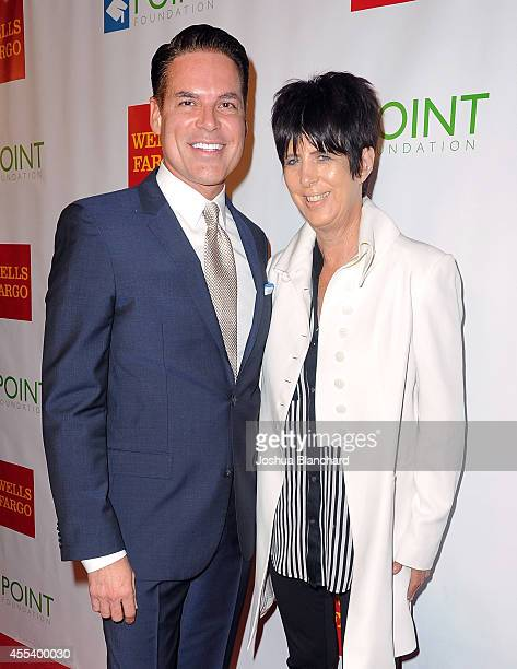 Point Leadership Award recipient Diane Warren and point executive director CEO Jorge Valencia arrive at Point Foundation's Voices On Point Gala at...
