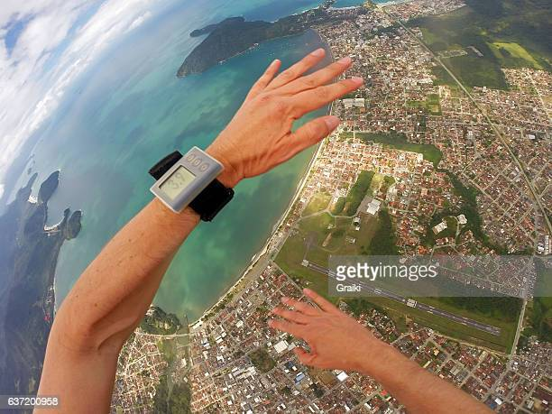 Point of view of a parachutist in free fall, above Ubatuba - Brazil
