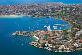 Aerial view of Point Piper and Rose Bay in Sydney, Australia