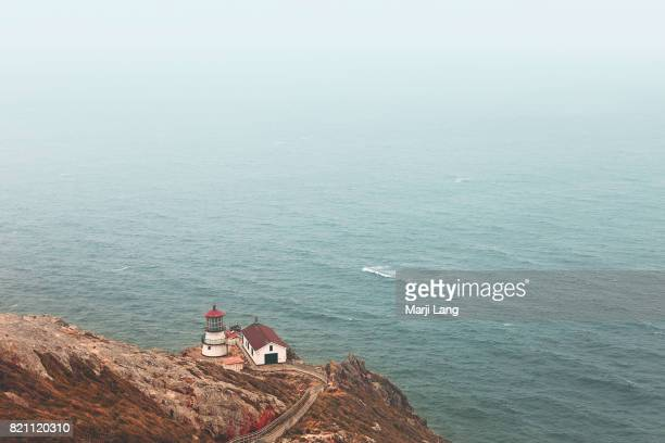 Point Reyes lighthouse a touristic landmark by the Pacific ocean in northern California USA