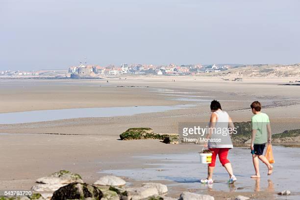 Pointe aux Oies Wimereux France September 3 2011 Women enjoy the sea side in la 'Pointe aux Oies' in front of Ambleteuse | Location Pointe aux Oies...