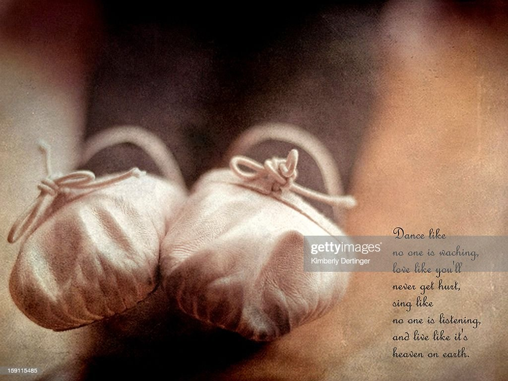 Pointed Ballet Shoes with quote : Stock Photo