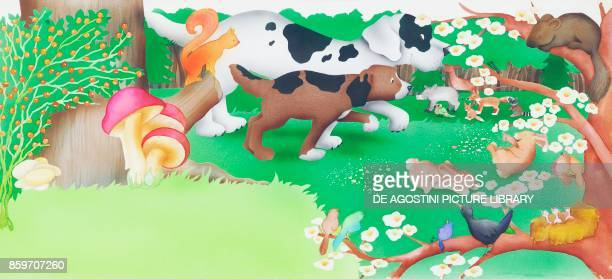 Pointing dogs in a flowery meadow children's illustration drawing