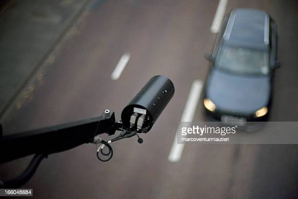 CCTV pointing on car - view from above, blurred background