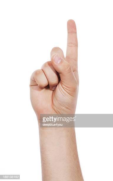 指を指す、copyspace 雄指にホワイト