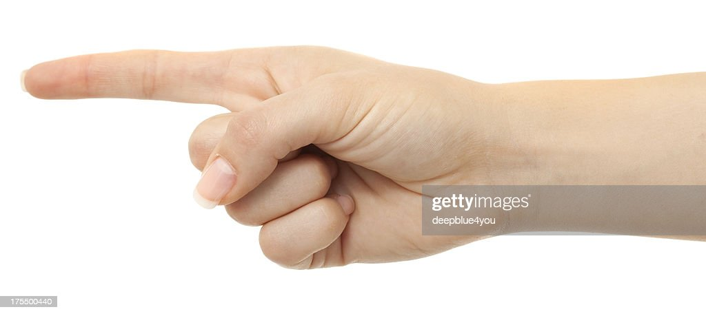 Pointing woman finger on white