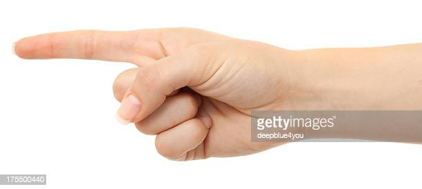 指を指す女性の指にホワイト