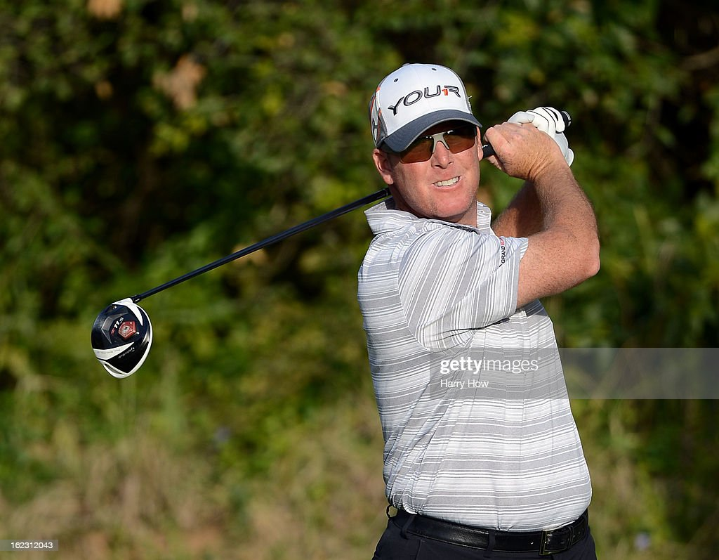 D. A. Points hits a tee shot on the 13th hole during the second round of the Northern Trust Open at the Riviera Country Club on February 15, 2013 in Pacific Palisades, California.