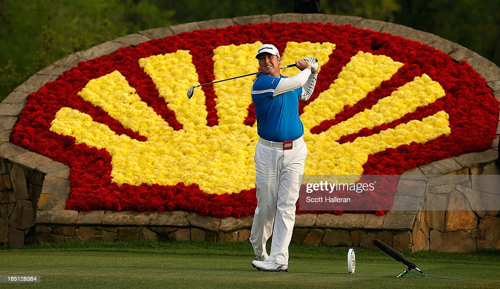 A Points hits his tee shot on the 18th hole during the final round of the Shell Houston Open at the Redstone Golf Club on March 31 2013 in Humble...