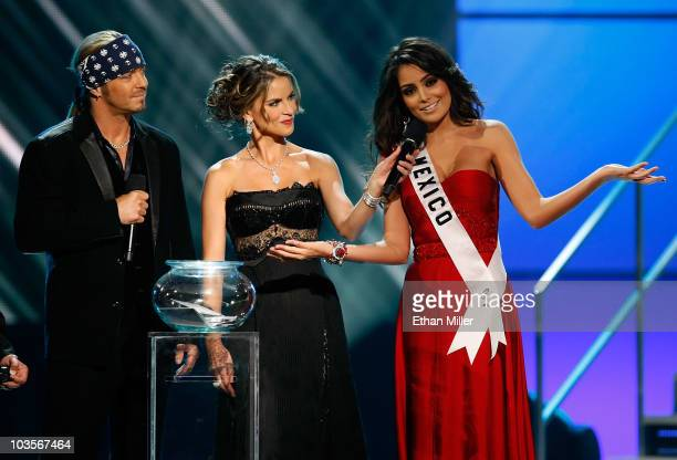 Poison singer and cohost Bret Michaels and NBC News anchor and cohost Natalie Morales listen as Miss Mexico 2010 Jimena Navarrete answers a question...