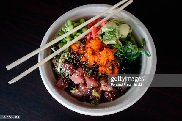 A poke bowl with ginger hijiki and edamame at Big Fin Poke in Westbrook Monday April 3 2017