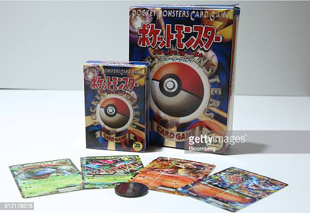 Pokemon card game packs marking the game's 20th anniversary are arranged for a photograph at the Pokemon Center Mega Tokyo store in Tokyo Japan on...