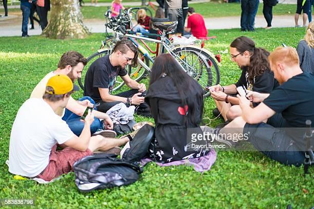 Pokemon gathering in Ljubljana park, Slovenia