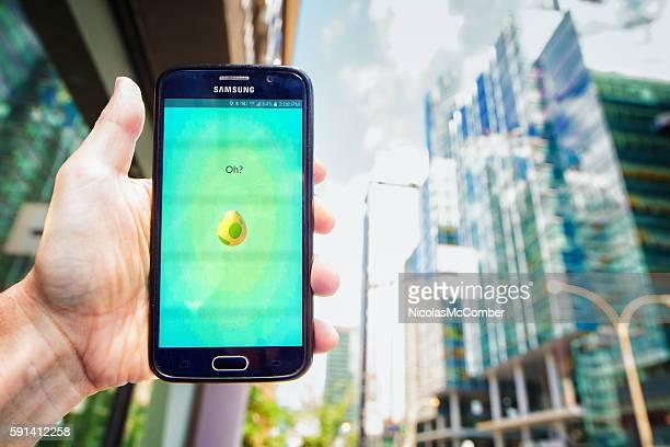 Pokemon go egg hatching screen on Samsung mobile phone