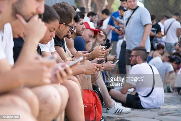 Pokemon Go gathering in Rome