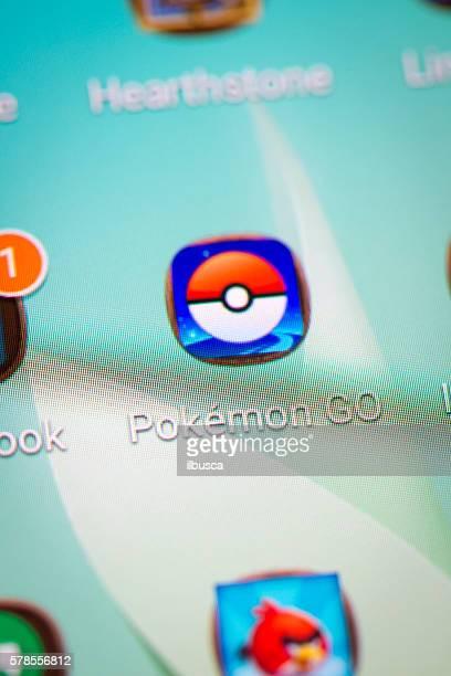 Pokemon Go icon macro closeup on Samsung smartphone screen