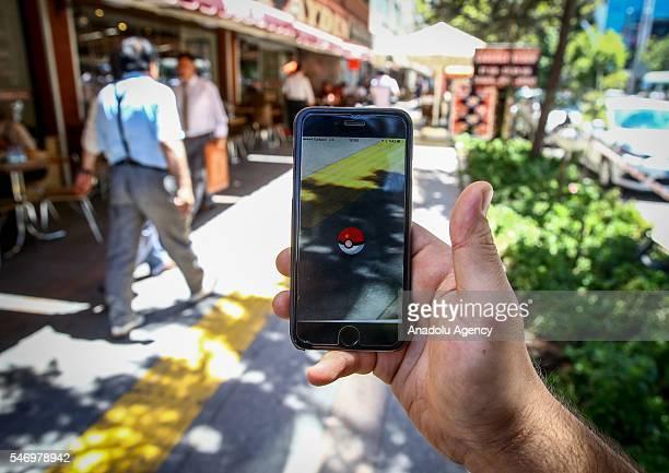 Pokemon Go user plays Pokemon GO game in Ankara Turkey on July 13 2016