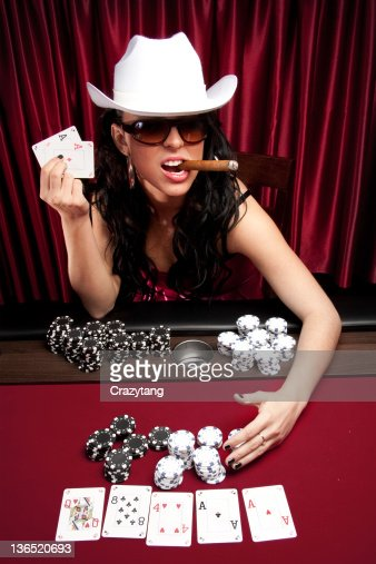 Poker diva hauling the chips