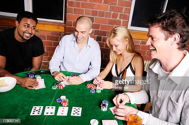 Poker Game Series: Four Friends at a Table