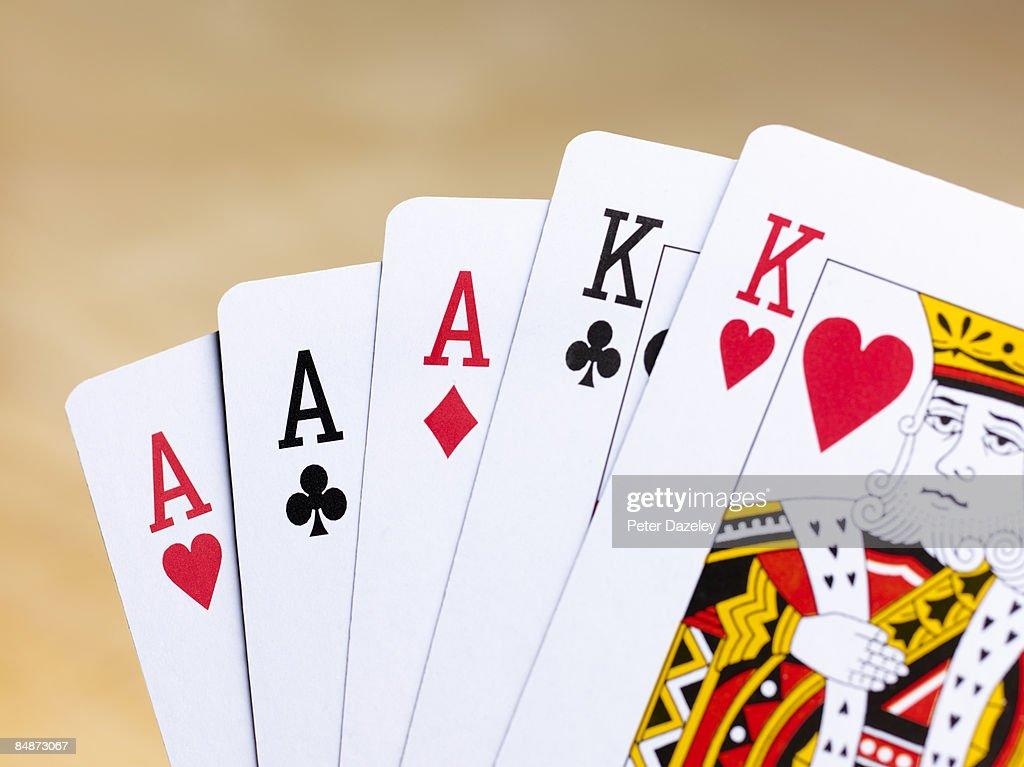 Poker hand full house. : Stock Photo
