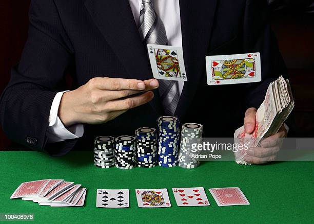 Poker player throwing cards