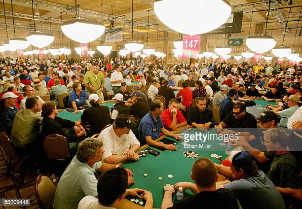 Poker players compete on the first day of the World Series of Poker nolimit Texas Hold 'em main event at the Rio Hotel Casino July 7 2005 in Las...