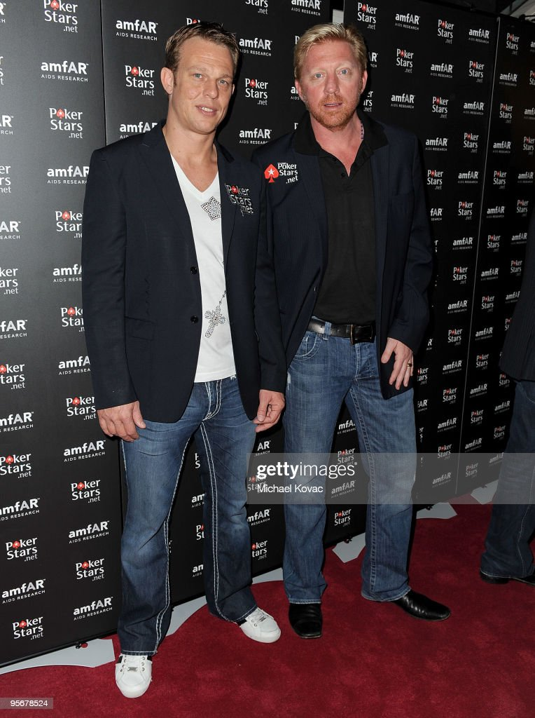 PokerStars Pro The Netherlands Thierry Van Den Berg (L) and former tennis champion Boris Becker arrive at the amfAR Cocktail Party & PokerStars Red Carpet And Party at Aura Nightclub on January 9, 2010 in Nassau, Bahamas.