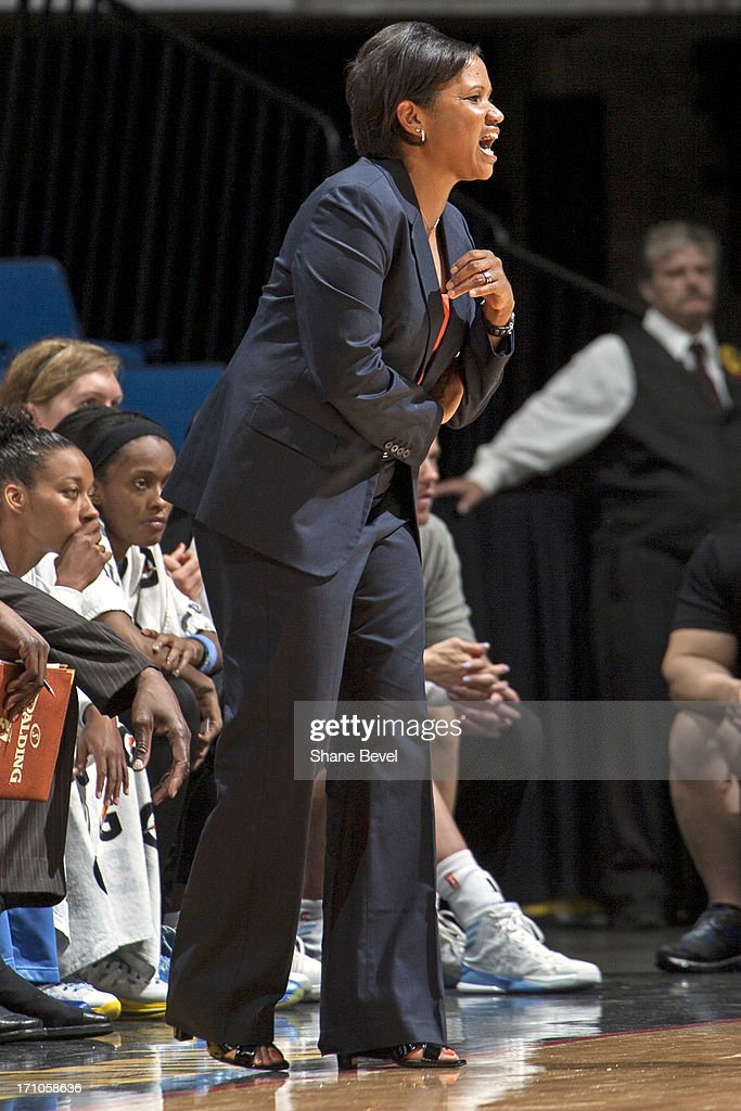 Pokey Chatman head coach of the Chicago Sky yells from the bench against the Tulsa Shock during the WNBA game on June 20, 2013 at the BOK Center in Tulsa, Oklahoma.