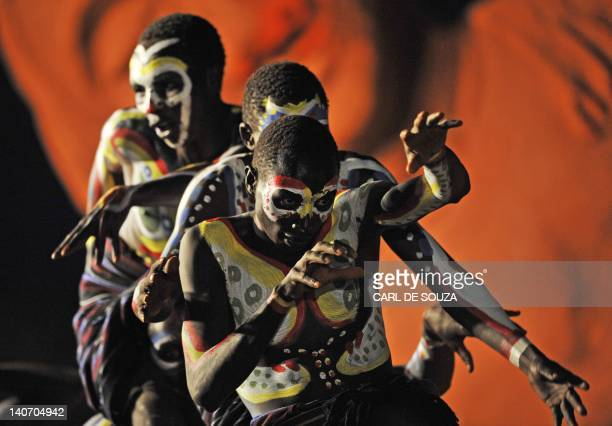 Pokot tribe youth perform at the Gallmann nature conservancy near Kinamba Laikipia Northern Kenya on March 4 2012 High Priest Shinso Ito and a group...